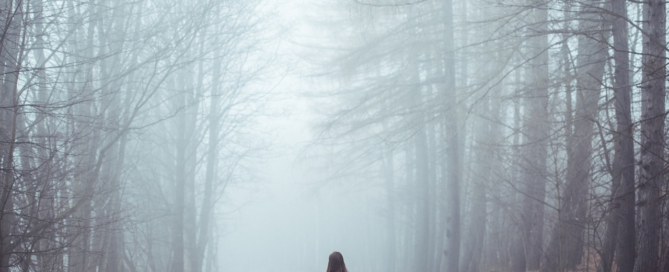 A woman lost in a forest