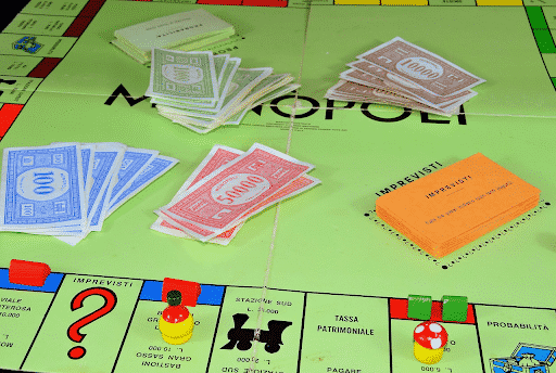 A board game with fake money