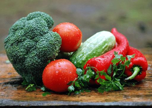 Broccoli, tomato, pepper, cucumber